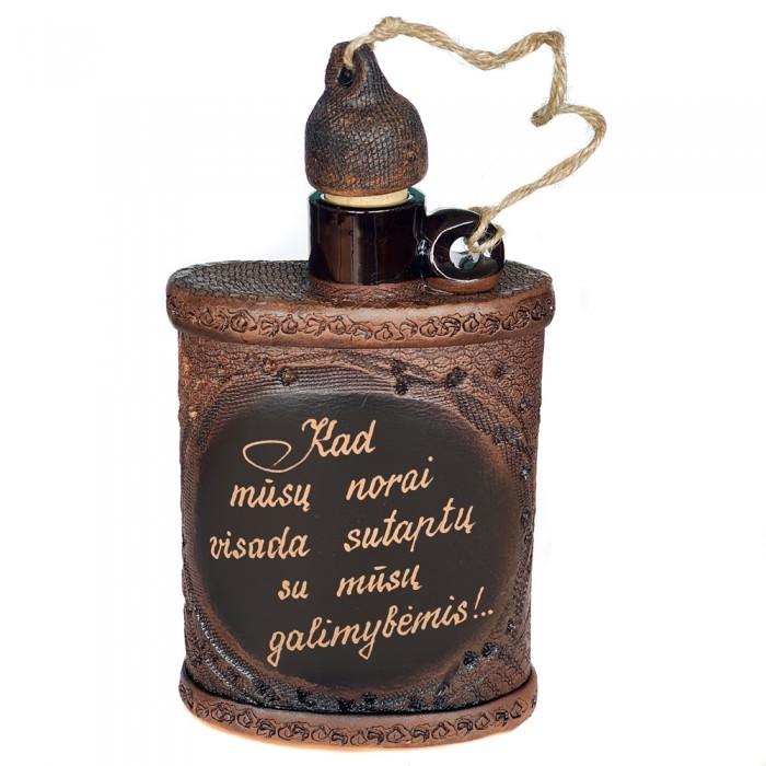 Butelis plokščias su individualiu užrašu