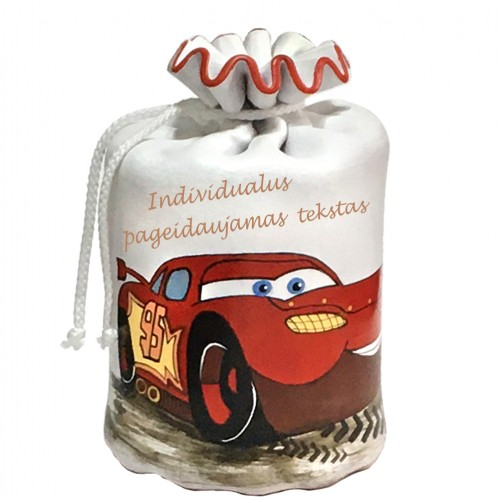 Taupyklė vaikiška su raudona mašina McQueen